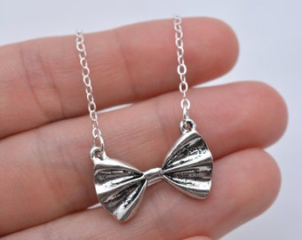 Bow Tie Necklace, Silver Bow Necklace, Mini Bow Necklace, Bowtie Necklace with Sterling Silver Chain, Tiny Bow - Gift for Her Teen Gift 0201