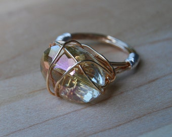 Round Rose Gold Bead, Copper Wire Wrapped Ring