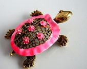 Signed ART turtle brooch / vintage pink and gold tone turtle brooch / pink enamel brooch / ART enamel turtle pin