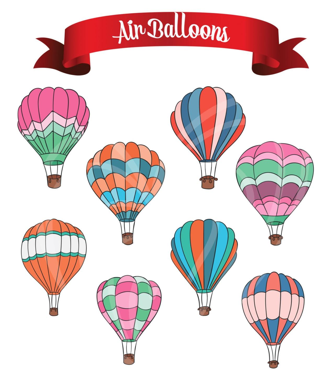 Colorful air balloons digital clip art embellishments for Room decor embellishment art