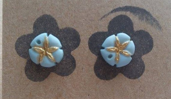 Blue and Gold Pastel Flower Earrings