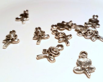 Rose charms x 10, Flower charms, silver tone charms