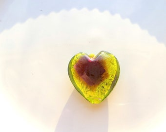 Green foil heart pendant, Lime green heart, Green heart pendant, Green lampwork heart, Lampwork glass heart