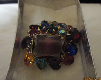 Abstract multi-colored rhinestone pin.  1950's