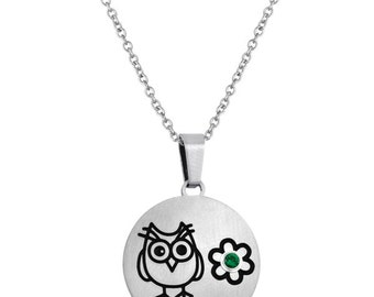 Owl Disc Pendant With Personalized Birthstone