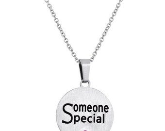Someone Special Disc Pendant With Personalized Birthstone