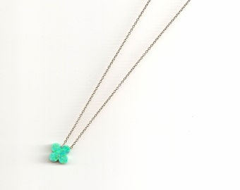 Opal Clover Charm Necklace
