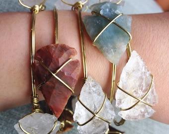 Natural Arrowhead Wire-Wrapped Bangle Bracelet: The Desert Diva