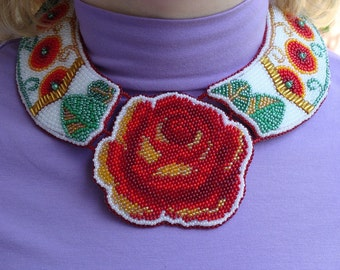 Beaded necklace Aphrodite gift handcrafted jewelry. Seed bead necklace with a red rose.