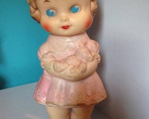 faded pink Edward Mobley Girl with Teddy Bear Rubber Squeaky Toy Doll 1962 - il_214x170.799318846_adan