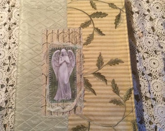 Sacred Angel Journal Cover Art Quilt Collage Diary