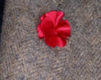 Red satinteen flower lapel-205