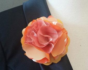 Orange Shiny Plastic and Chiffon Flower Magnetic pin