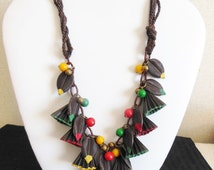 Fabulous Frank Hess, Miram HASKELL Hand Painted CELLULOID, Dangles Wooden Beads Vintage 30's, Early 1940's Arts & Crafts Necklace