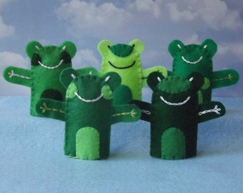 5 Frogs - Felt Frog Finger Puppets Set of 5 - Army of Frogs Felt Amphibian Finger Puppets - Five Frog Puppets for Party Favors or Play