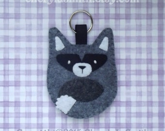 Felt Raccoon Keyring - Raccoon Key Ring Bag Charm - Woodland Key Chain