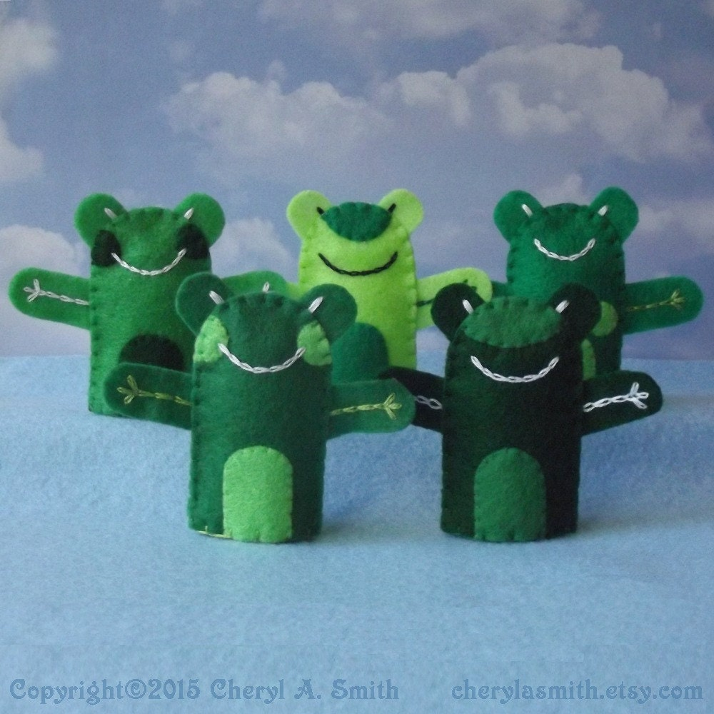 frog finger puppet template - 5 frogs felt frog finger puppets set of 5 army of frogs
