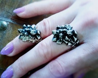 Dark Crystal Ring Quarts crystals cast in sterling silver traditional or midi knuckle ring made to order in your size