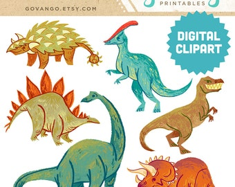 DINOSAURS Digital Clipart Instant Download Illustration T-Rex Stegosaurus Brachiosaurus Triceratops Dino Children Art Nursery Clip Art Stock