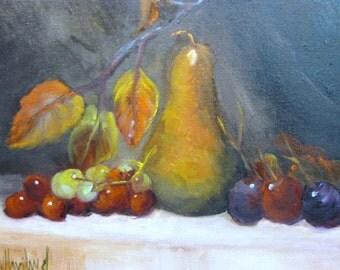 Bosc Pear,Grapes and Leaves #stilllife,#oil painting,#kitchenart # Barbara Haviland,#Barbsgarden