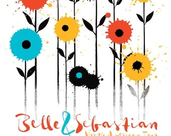 Screen Print Belle & Sebastian Poster Silkscreen - Flowers 2015 Tour Poster