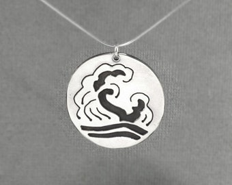 Silver Pendant Japanese Waves Saw Pierced Sterling Necklace