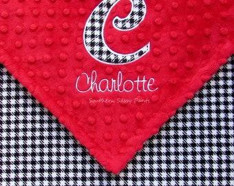 Personalized Houndstooth Baby Blanket , Alabama Crimson Tide Baby Blanket , Applique Initial and Embroidered Name