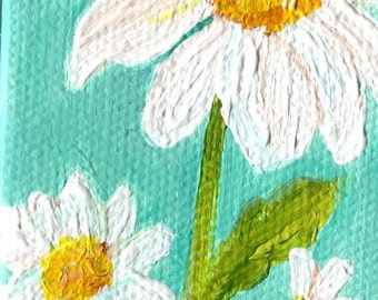 Shasta Daisies Painting, mini canvas art Aqua Original on canvas with mini easel, 2 x 4, acrylic painting SharonFosterArtSharonFosterArt