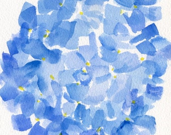 Hydrangea painting, Blue Hydrangeas  Original Watercolor Painting, Flower Painting, Small Floral Wall Art, 5 x 7 SharonFosterArt floral