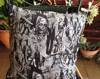 Halloween Zombie Walking Dead Cushion by Alexander Henry Black White Feather