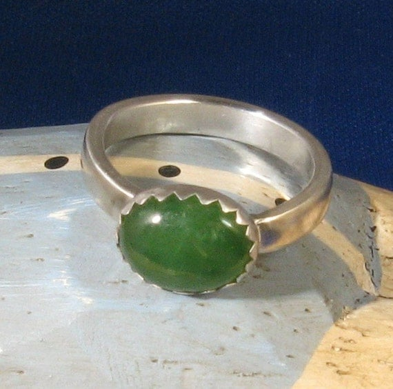 Lucky Jade Ring handmade sterling silver stone ring