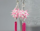 Eco-Chic Eco-Friendly Tassel Earrings Featuring Spiky Pink & White Recycled Tire Rubber Beads and Recycled Telephone Wire