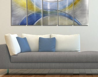 NEW! Silver, Yellow & Blue Modern Metal Wall Sculpture - Handpainted Abstract Metal Accent - Contemporary Art - Light of Day by Jon Allen