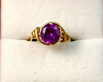 Rose Sapphire Simulated Birthstone 14k GF Ring - Size 5-1/2