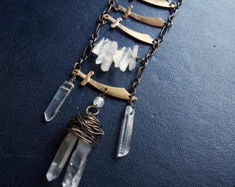 five of swords - tarot inspired vintage antique battle armor ladder necklace -  boho edgy festival fashion jewelry