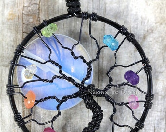 Rainbow Moonstone Full Moon Tree of Life Pendant Multicolor Gemstone Colorful Lightworker Chakra Necklace Black Wire Wrapped Tree Jewelry
