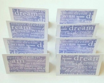 Mini Gift Cards / 8 / Dream Believe Hope Wish / Gift Enclosure / Money Gift Card Envelopes