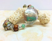 Wood Nymph Bracelet, Artisan Silver and Lampwork Bracelet, Greens and Browns