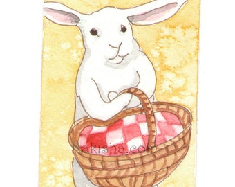 Original Watercolor Rabbit Painting - Picnic - ACEO