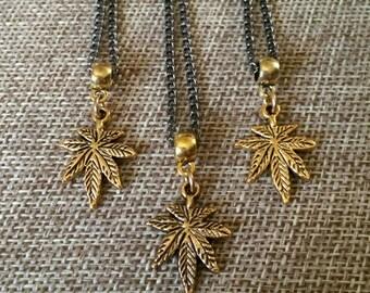 Brass Marijuana Leaf Necklace - Brass Weed Leaf Pendant on Thin Gunmetal Chain - Marijuana Jewelry