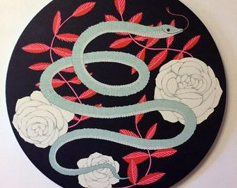 Snake - Original Round Acrylic Art Painting