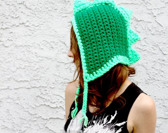 Dinosaur Dragon Hat - Spiked Hooded Style Bright & Dark Green Crocheted Earwarmer Hat - Made To Order