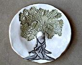 Ceramic Ring Holder Tree edged in gold