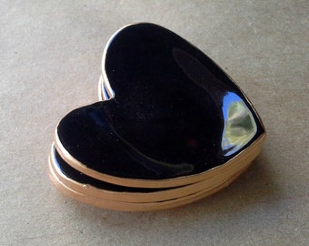 THREE Ceramic Black itty bitty heart ring bowls 2 1/2 inches edged in gold