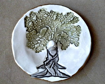 Ceramic Ring Holder Tree edged in gold