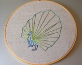SALE Origami Peacock - hand drawn and embroidered wall hanging