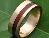 Equinox Ñambaro Cocobolo 14k Yellow Gold Wood Ring - ecofriendly wood wedding band, 14k yellow gold wood wedding ring