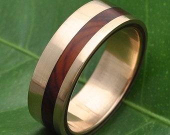 Equinox Ñambaro Cocobolo 14k Yellow Gold Wood Ring - ecofriendly wood wedding band, 14k yellow gold wood wedding ring