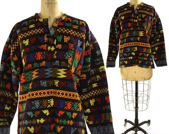Huipil Blouse / Vintage 1960s Woven Guatemalan or Mexican Pull-Over with Embroidery