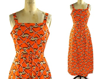 60s Boho Maxi Sundress / Vintage 1960s Handmade Dress Clementine Orange Psychedelic Print / One of a Kind Floor length Hippie Festival Dress